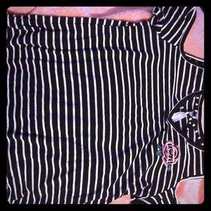 B-W striped shirt/ shoulder-free-cut/size L (14)